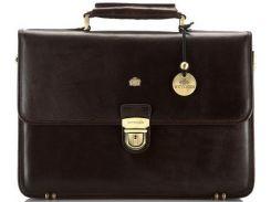 Качественный кожаный портфель коричневого цвета