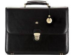 Черный кожаный портфель для делового мужчины