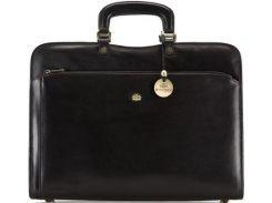 Стильная и удобная кожаная сумка-портфель черного цвета