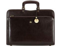 Стильная и удобная кожаная сумка-портфель коричневого цвета