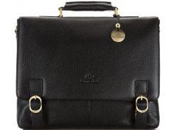 Шикарный черный портфель из итальянской кожи для делового мужчины