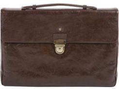 Стильный коричневый кожаный портфель с большим основным отделением