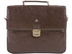 Статусный коричневый кожаный портфель для делового человека