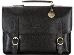 Презентабельный черный кожаный портфель с отделением для ноутбука