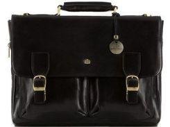 Черный кожаный портфель с удобными карманами и клапаном с замком