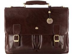 Коричневый кожаный портфель с удобными карманами и клапаном с замком