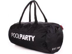 Черная вместительная спортивно-дорожная сумка в форме боченка