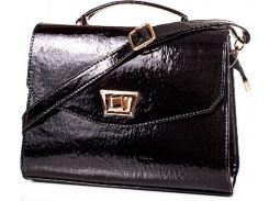 Представительная черная сумочка из лакированного кожзама