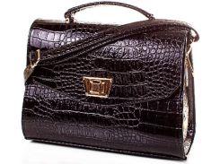Представительная черная сумочка из лакированного кожзама под крокодила