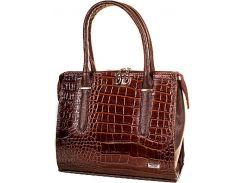 Элегантная коричневая сумка с тиснением под крокодила на фасаде