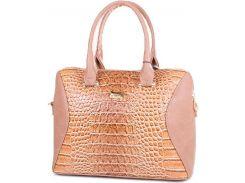 Золотисто-коричневая сумочка с красивой лакированной вставкой с тиснением под крокодила