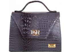 Темно-серая стильная сумочка с тиснением под крокодила