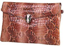 Замечательный коричнево-бежевый лакированный клатч  с тиснением под крокодила