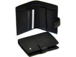 Черное портмоне из натуральной кожи с тремя отделениями для банкнот
