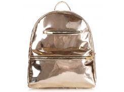 Вместительная женская сумка-рюкзак золотистого цвета