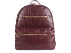 Компактная женская сумка-рюкзачок коричневого цвета с тиснением под крокодила