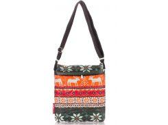 Яркая стеганая женская сумочка-планшет с принтом северных оленей