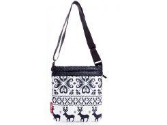 Белая стеганая женская сумочка-планшет с рисунком северных оленей