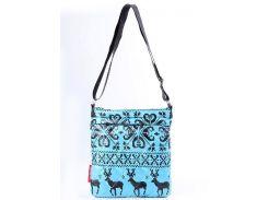Женская голубая стеганая сумка-планшет с принтом северных оленей