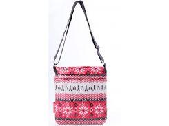 Яркая компактная женская сумочка-планшет с зимним орнаментом