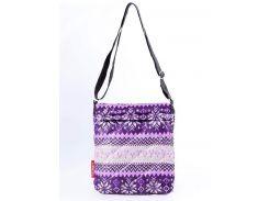 Стеганая фиолетовая женская сумочка-планшет с северным орнаментом