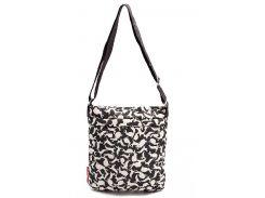 Черная женская сумка-планшет с рисунком белых кроликов