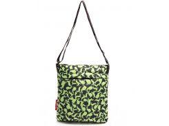 Стеганая черная женская сумочка-планшет с рисунком зеленых кроликов