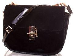 Шикарная черная женская сумочка из эко кожи и замша с эффектной застежкой