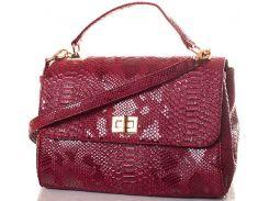 Элегантная и вместительная женская сумочка темно-красного цвета из эко кожи с тиснением под рептилию