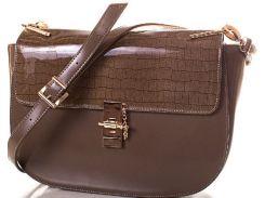 Эффектная коричневая женская сумочка с интересной механической застежкой с гвоздиком