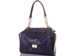 Замечательная синяя сумка из эко кожи с тиснением под рептилию и цепочками на ручках