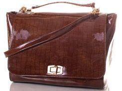 Шикарная коричневая сумка из эко кожи с текстурой под рептилию для модниц