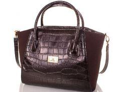 Неповторимая женская сумка цвета черного кофе из эко кожи с замшевыми вставками