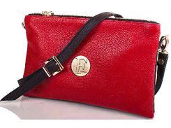 Красно-черная сумочка-клатч из эко кожи флотар для переменчивых натур