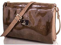 Прекрасная сумочка-клатч из коричневой лакированной эко кожи с тремя отделениями