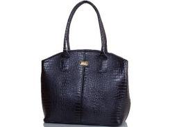 Симпатичная и аккуратная черная женская сумка из искусственной кожи с тиснением под крокодила