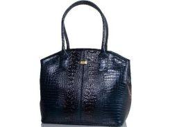 Очень красивая женская сумка темно-синего цвета с переливом из искусственной лакированной кожи под рептилию