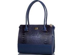 Красивая синяя женская сумка с каплеобразными боками