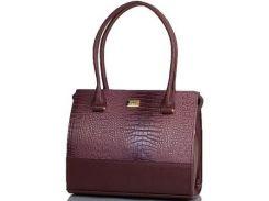Красивого коричневого цвета с розовинкой женская сумка с вставкой под крокодила