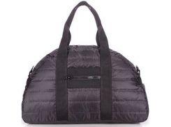 Вместительная стеганая дутая сумка черного цвета