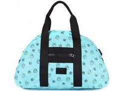 Вместительная стеганая дутая сумка голубого цвета