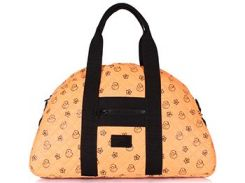 Вместительная стеганая дутая сумка оранжевого цвета