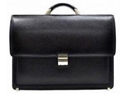 Презентабельный черный кожаный портфель с кодовым замком Desisan 216 флотар