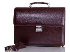 Коричневый кожаный портфель с кодовым замком Desisan 2005 флотар