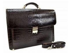 Презентабельный коричневый кожаный портфель с кодовым замком Desisan 206 кроко