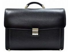 Черный кожаный портфель с кодовым замком и вшитой папкой Desisan 217 флотар