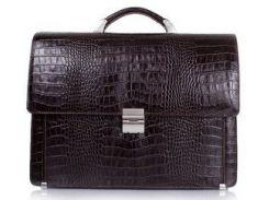 Классический коричневый кожаный портфель с кодовым замком Desisan 319 кроко