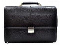 Классический черный кожаный портфель с кодовым замком Desisan 5006 флотар