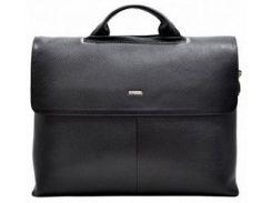 Черный кожаный портфель Desisan 1312 флотар с отделением для ноута