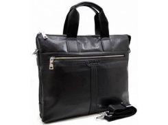 Современная вместительная мужская черная сумка-портфель Bonis из экокожи